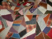 Vintage Crazy Patch Quilt Top Embroidery Handmade Delicate Stitching 66 X 84