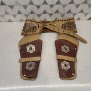 Vintage Johnny Ringo Toy Gun Double Holster With Leather Belt Western
