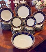 57 Piece Cobalt Blue And Gold Fine China Dinnerware Set Rosenthal Charlemagne