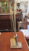 1 Vintage Solid Brass Fireplace Set With Stand Brush, Poker, Shovel And Watcher