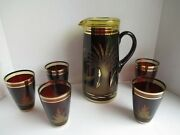 Vintage Etched Cut Bohemian Czech Red Art Glass To Clear Pitcher And Glass Set