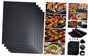 5-piece Grill Mat Set, Non Stick Bbq Grill Mats, Easy To Clean, Reusable Black
