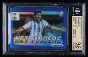 2014 Panini Prizm World Cup Net Finders Blue Prizms /199 Lionel Messi 2 Bgs 9.5