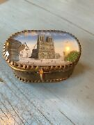 Antique Jewelry Casket Box Notre Dame Cathedral Paris France Ormolu Red Cushion