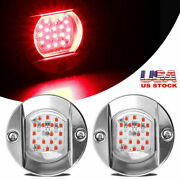 2x Round Marine Boat Led Stern Lights Red Cabin Deck Courtesy Light Waterproof