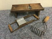Lot Of Antique And Vintage Kitchen Items-slaw Cutter
