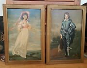 Lot Vintage Paint By Number Blue Boy And Pinky English Huge 31x21.75 Wood Frame