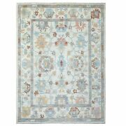 8and03910x12and039 Extra Soft Wool Hand Knotted Ivory Angora Oushak Oriental Rug R69611