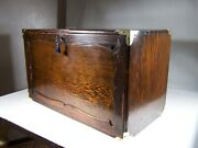 Antique 1940s Bench Made Rustic Pine And Brass Collectors Machinist Tool Chest Box