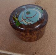 Vintage Art Deco Celluloid Dressing Table Pot Hand Painted Lady In Dress On Lid