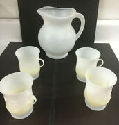 Vintage Kool-aid Man 2qt Pitcher With 4 Matching Drink Cups White Plastic Set