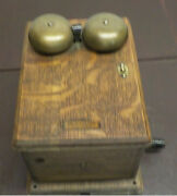 Antique Dovetailed Oak Wood Wooden Bell Ringer Box Hand-crank Western Electric