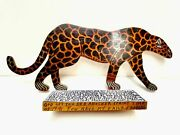 Howard Finster Art Wood Cut-out Cheetah Animals Signed Authentic 1991