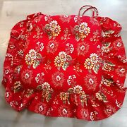 Red Ruffled Country French Cottage Chair Cushion 17x17 Cottagecore