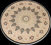 Vegetable Dye Tebriz Geometric Oriental Area Rug Wool Hand-knotted 8and039x8and039 Round