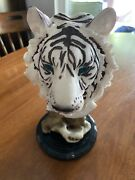 White Tiger Head Bust Carved Wood Look Figurine Resin Statue White Used Old