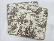 2 French Country Cottage Pillowcases  Farm House English Toile Downtown Abby