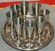 Set Of 8 Pewter Cordial Cups, 3.75 Stemmed Shot Glasses, Woodbury Pewters Andtray