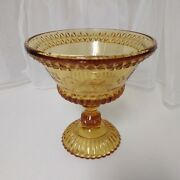 Antique Adams 1874 Eapg Amber Wildflower Pattern Glass Compote 6 Hi X 5 7/8