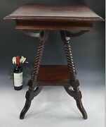 Antique Mahogany Parlor Table W/rope Twist Legs