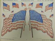 45 Star Flag Eagle Gar Medals Electrotype Cuts 1909 Catalog Page 11.5x15 Fd8-3