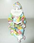Vintage Rare Porcelain Girl W/ Book Clown Figurine Made In Italy