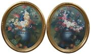 2 Antique Oval Floral Still Life Oil Paintings On Canvas Painting Flowers Fruit