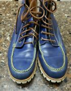 Dsquared2 Men's Blue Leather Work/hiking/biker Boots Size 12/45