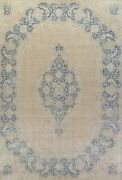 Antique Muted Geometric Kirman Area Rug Evenly Low Pile Hand-knotted Wool 10x15