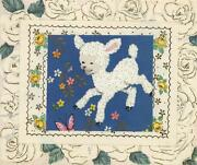 Vintage White Lamb Smiling Sheep Flowers Yellow Roses Collage Picture Art Print