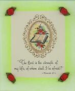 Vintage 1950s Cameo Oval Bible Roses Print Psalm 271 Collage Pastel Art Border
