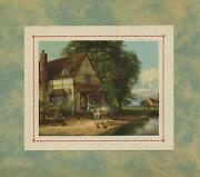 Vintage Thatched Farm House Cottage White Horse Chickens Stream Church Art Print