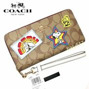 Coach Peanuts Game Peanut Snoopy Long Wallet Zip Around Signature Patch C4598