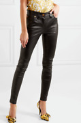 Versace Black Leather Skinny 5 Pocket Pants With Ankle Zippers It 40 Or Us 4 Nwt