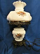 Vintage Electric Gwtw Gone With The Wind Lamp Milk Glass With Roses Decoration