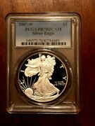 2007-w American Silver Eagle Proof Coin, Pcgs Pr70dcam, Free Shipping