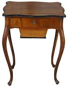 Antique French Country Oak And Walnut Serpentine Sewing Cabinet Side Accent Table