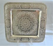Vintage Middle Eastern 90+ Silver Square Footed Tray