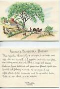Vintage Old West Horse Cowboy Dog Blueberry Buckle Recipe 1 Christmas Quilt Card