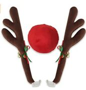 Car Reindeer Antlers And Nose - Christmas Decorations For Car - Window Roof
