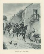 Antique Soldier On Horse Back Equestrian Farm Girl Chickens Village Small Print