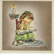 Vintage 1930and039s Christmas Girl Reading Book Cat Candle Old Fashioned Card Print