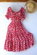 Newred Country Floral Peasant Tiered Summer Cottage Boho Dresssize Small S