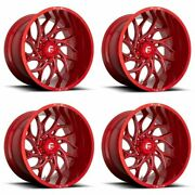 Set 4 22x10 Fuel D742 Runner Candy Red Milled 8x6.5 Truck Wheels -18mm W/ Lugs