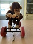 Antique Steiff Monkey On Bike, Pull Toy, Collectable - Good Condition
