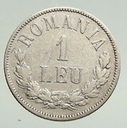 1873 Romania With King Carol I And Shield Large Anitque Silver 1 Leu Coin I94767