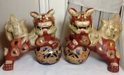 Vintage 11 Pair Of 2 Chinese Ceramic Lion Foo Dogs Playing Ball Heavy Gold Trim