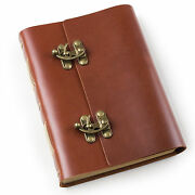 Ancicraft Leather Journal Diaries With Cool Lock A5 Blank Craft Paper Red Brown