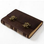 Ancicraft Leather Journal Guestbook With Vintage Lock A5 Blank Paper Brown Gift