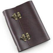 Ancicraft Refillable Leather Journal Notebook With Retro Lock A5 Binder Blank